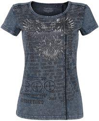 Camiseta azul lavada con estampado
