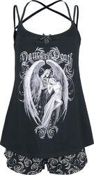 Gothicana X Anne Stokes - Pijama corto negro con estampado