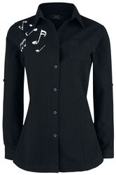 Camisa negra manga larga con Nota Musical