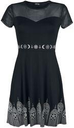 Schwarzes Kleid mit Mesheinsatz und Print