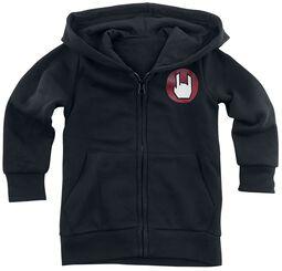 Chaqueta negra con capucha y logo