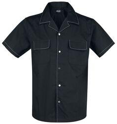 Schwarzes Bowlinghemd mit weißen Nähten