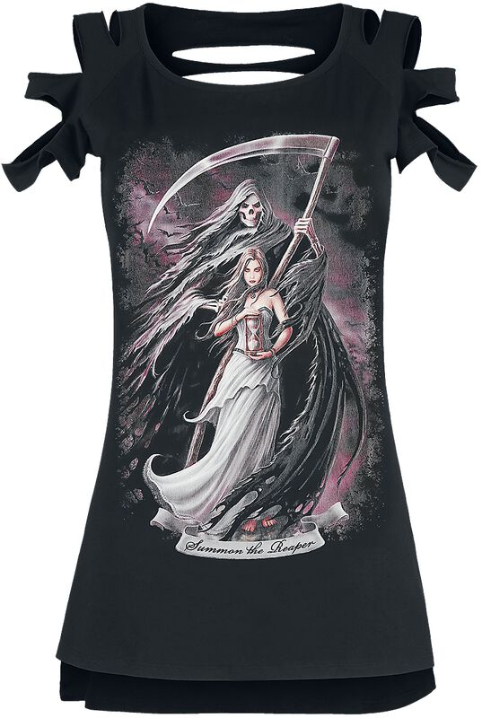 Gothicana X Anne Stokes - Black T-shirt with Print and Cut-outs