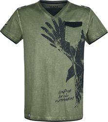 Camiseta oliva con cuello en V y estampado