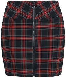 Falda con cremallera a cuadros negros/rojos