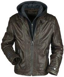 Chaqueta de piel marrón con capucha y costuras moteras