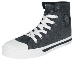 Zapatillas gris oscuro en look vaqueros con parche lateral