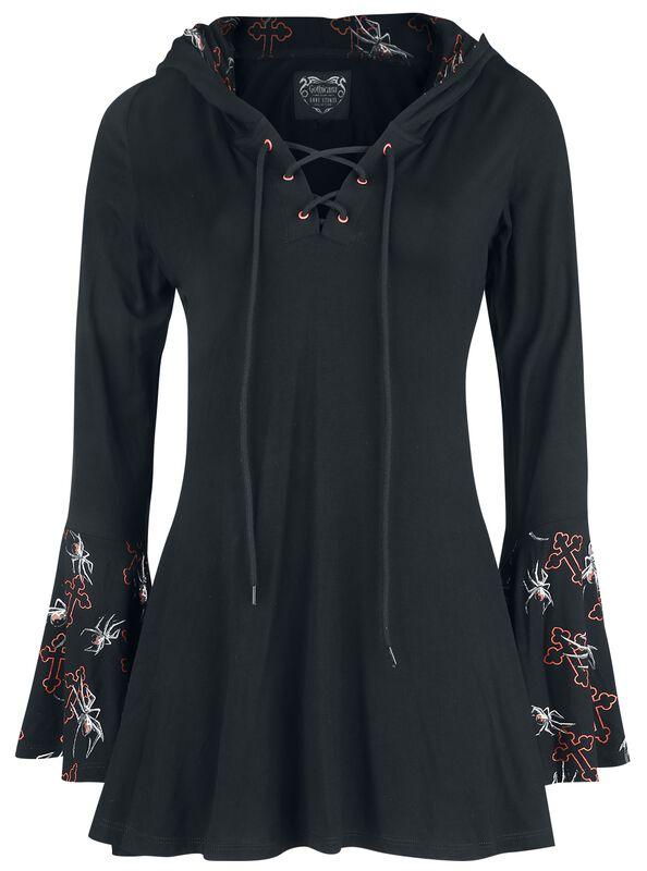 Gothicana X Anne Stokes - Top negro manga larga con cordón, estampado y gran capucha