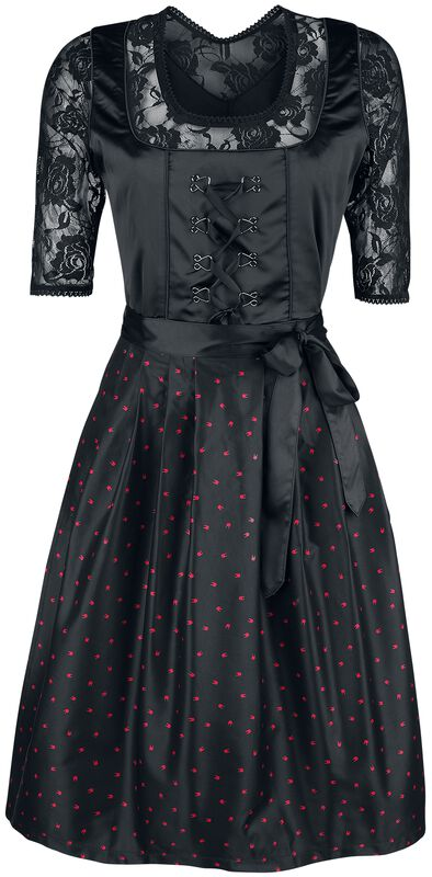 Black Dirndl with Lace Blouse and Rockhand Apron