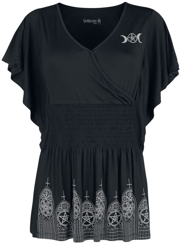 Black T-shirt with Print and Ruching