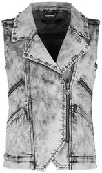 Grey waistcoat with wash and decorative stitching