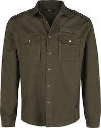 Camisa oliva con bolsillos al pecho en estilo militar