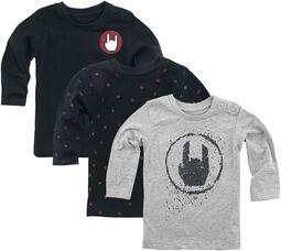 Camisetas manga larga gris/negro 3-Pack