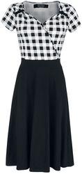 Vestido negro/blanco años 50 con parte superior a cuadros