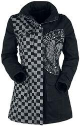 Chaqueta gris/negro con remaches y estampado