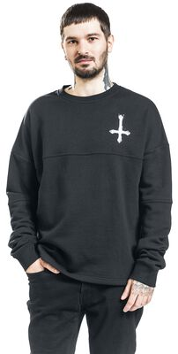 Black Sweatshirt with Print on Chest and Back