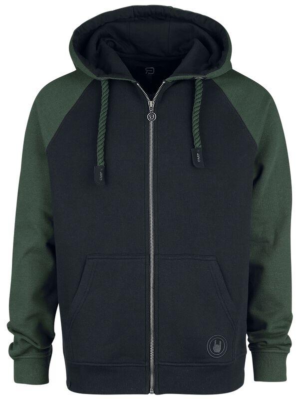 Capucha negra/verde con mangas raglan