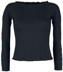 Black Long-Sleeve Shirt with Decorative Eyelets and Ribbed Fabric