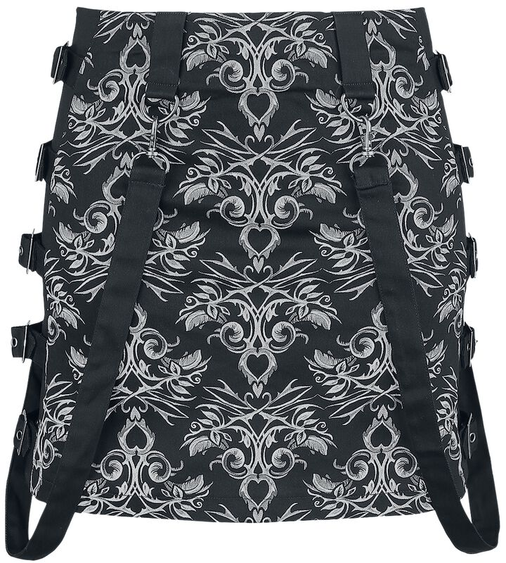Gothicana X Anne Stokes - Mini falda negra con patrón y correas