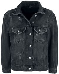 Black Denim Jacket with Distressed Effects