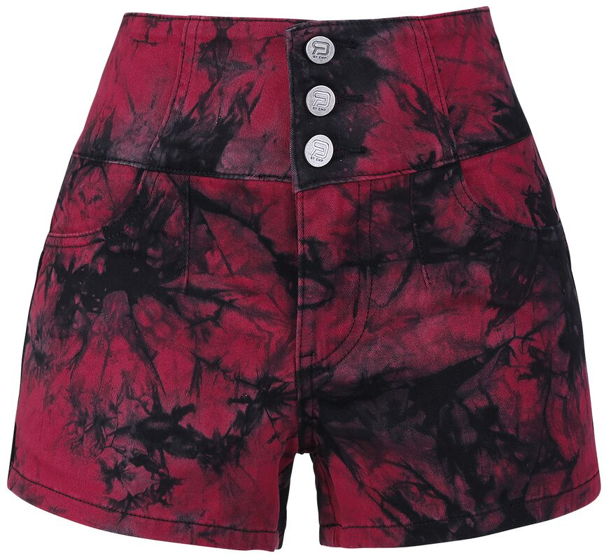 Black/Red Batik Shorts with Three Buttons