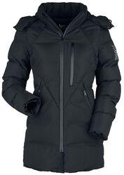 Chaqueta negra de invierno con acolchado y capucha