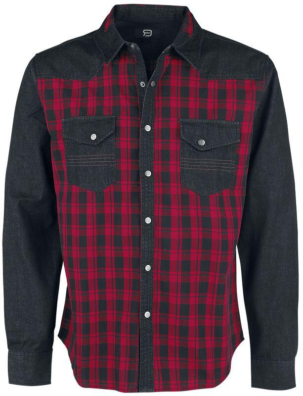 Camisa a cuadros negros/rojos con bolsillos al pecho