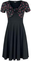 Vestido negro corto con sutil estampado de calaveras