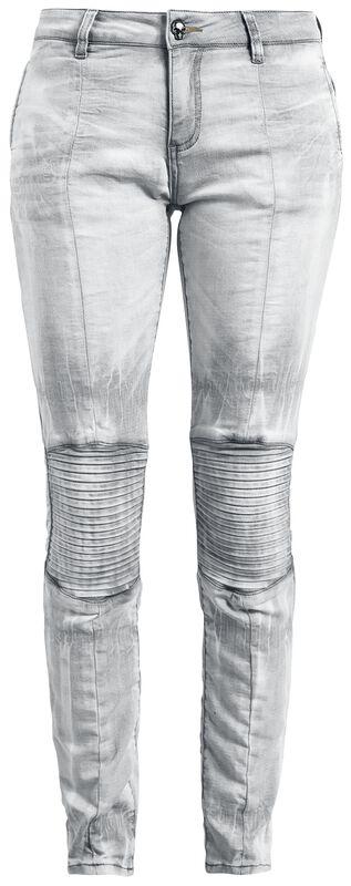 Vaqueros gris claro con costuras biker