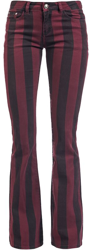 Grace - Pantalones a rayas negro/rojo