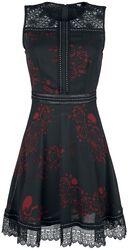 Vestido negro de completo estampado, remaches y encaje
