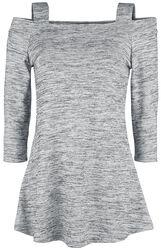 Mottled White/Grey Open-Shoulder Long-Sleeve Shirt with Straps