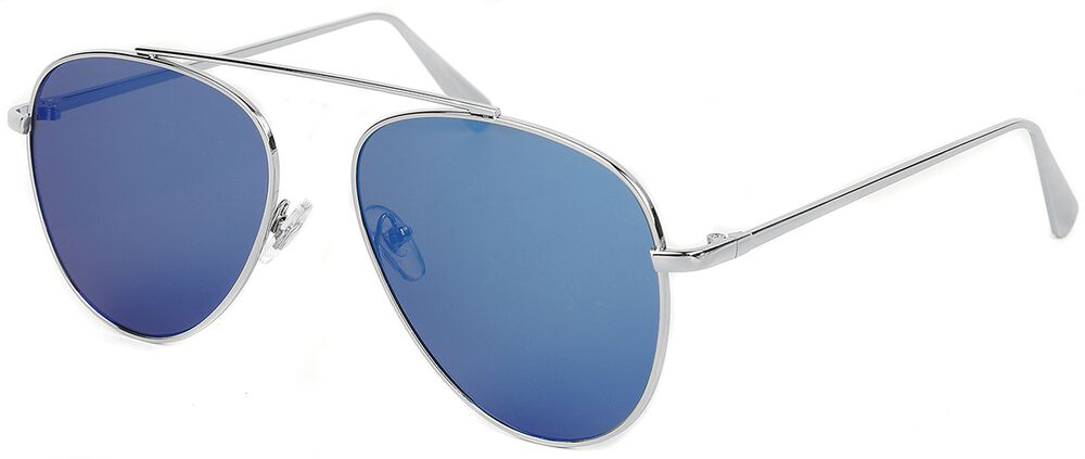 Shiny Silver Ice Blue Aviators