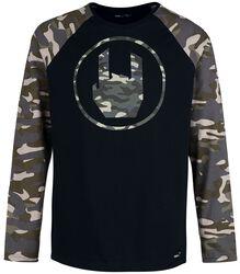 Camiseta negra con manga larga raglan y Rockhand