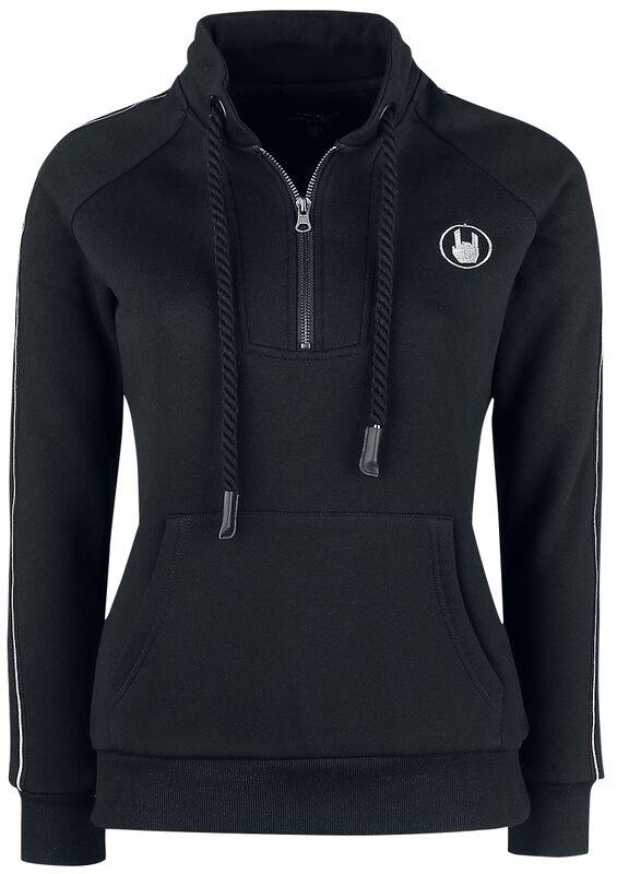 Black Sweatshirt with Zip and Reflective Elements