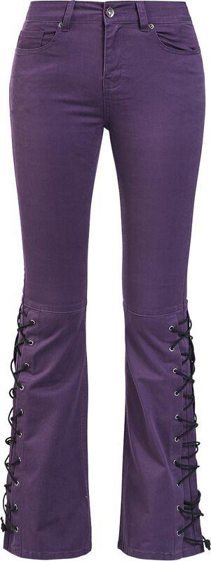 Grace - Violette Jeans mit seitlicher Schnürung