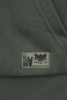 Chaqueta con capucha color oliva con parches
