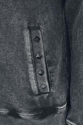 Dunkelgraue Kapuzenjacke mit Waschung und Nieten