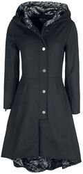 Gothicana X Anne Stokes - Abrigo negro con gran capucha y cordón