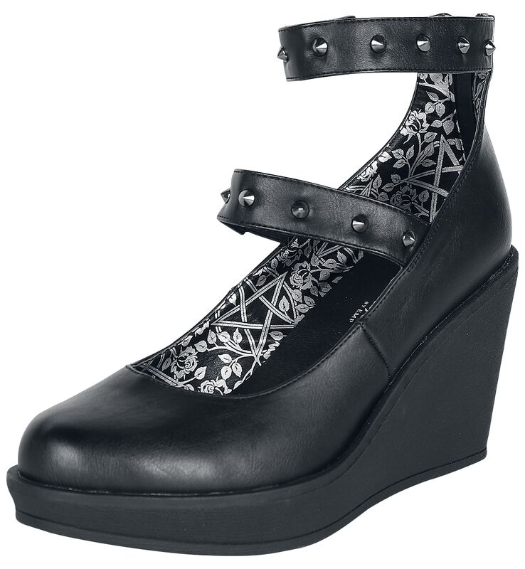 Black High Heels with Wedge Heel and Straps