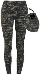 Olive-Coloured Camo Leggings with Side Pockets