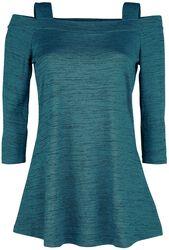 Blue/Black Mottled Open-Shoulder Long-Sleeve With Straps
