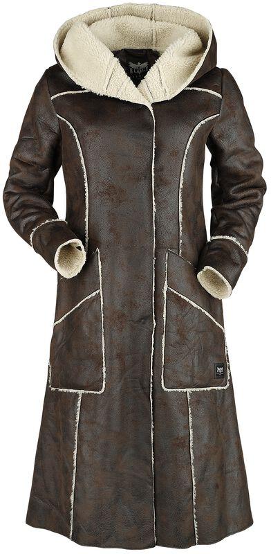 Abrigo de piel marrón artificial con costuras abiertas