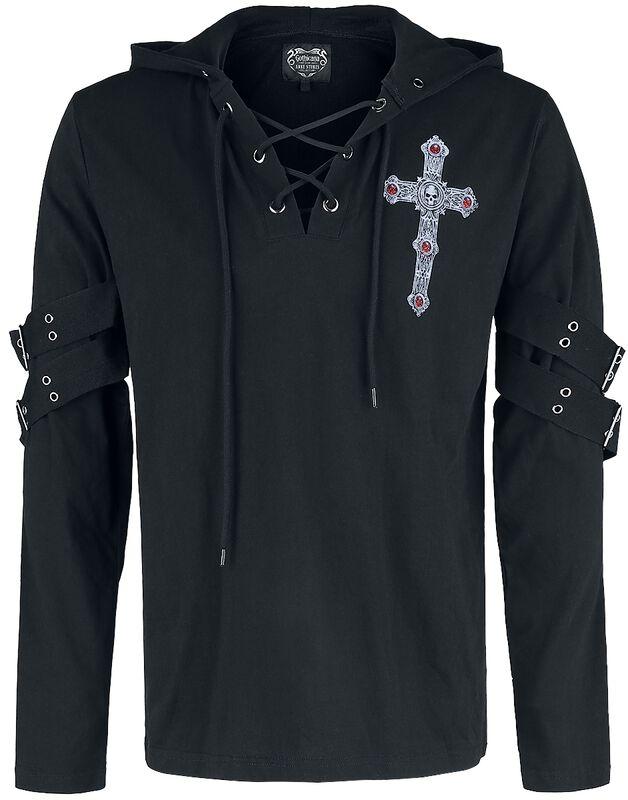 Gothicana X Anne Stokes - Camiseta negra larga con estampado y cordón