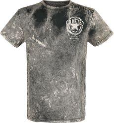 Camiseta gris lavada con parches