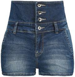Pantalones Ultracortos Denim de Cintura Alta