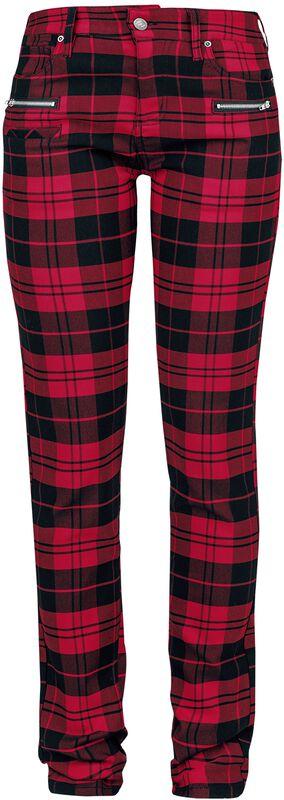 Skarlett - Pantalones a cuadros rojo/negro