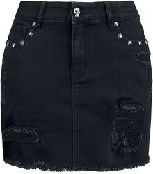 Falda negra de denim con rotos y tachuelas