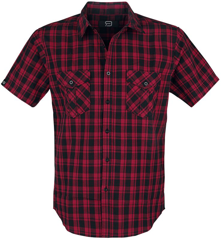 Black/Red Checked Short-Sleeve Shirt with Chest Pockets