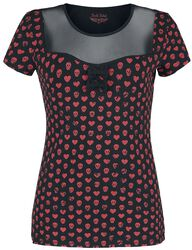 Camiseta negra / roja con escote transparente